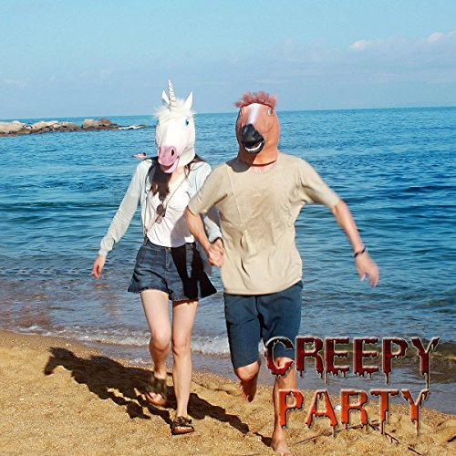 CreepyParty Deluxe Novelty Halloween Costume Party Latex Animal Head Mask Unicorn
