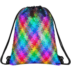 Rainbow Sequin Drawstring Bag | Perfect For PE Kit, Swimming Bag