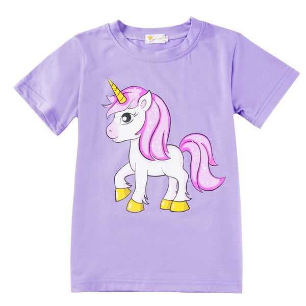 Little Hand Girls Pyjamas Set Unicorn Print Girls Pjs Short Sleeve Cotton Sleepwear Tops Shirts & Pants for Age 1-7 Years (5# Unicorn/Purple, 4-5 Years)