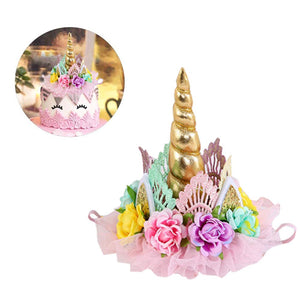 Miss Good Unicorn Cake Topper Handmade Flowers Unicorn Horn Ears Cake Decorating Glitter Birthday Cupcake Topper Candle for Baby Shower Wedding Birthday unicorn theme Party Decoration (Gold)