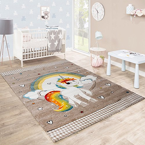 Children's Rug Children's Room Heart Rainbow Unicorn Contour Cut Beige White, Size:80x150 cm