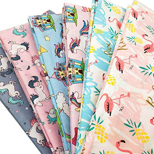 Fat Quarter Fabrics | Unicorns, Rainbow Horse,Flamingos | 100% Cotton Fabric | Quilting