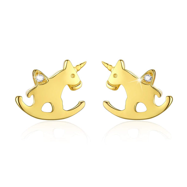 Unicorn Gold Earrings - Rocking Horse