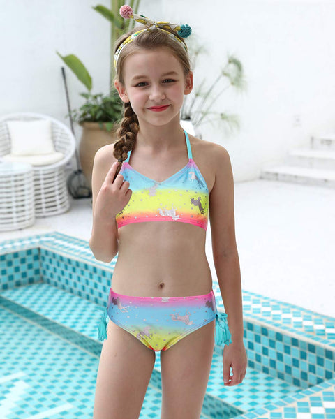 unicorn tankini worn by model