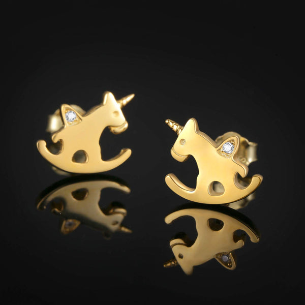 Stunning Unicorn Gold Earrings - Rocking Horse