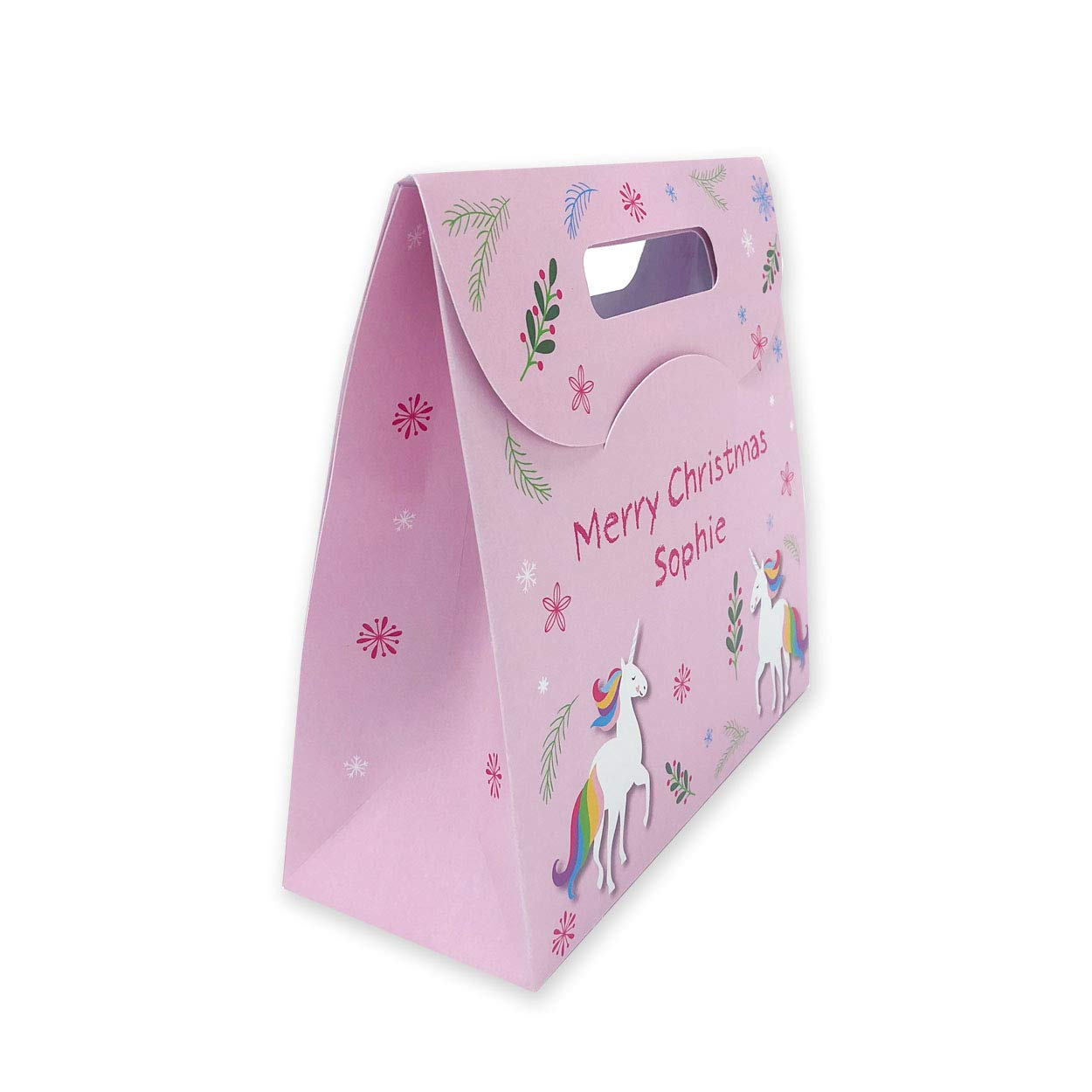 Personalised Christmas Gift Bag For Presents - Unicorn Theme