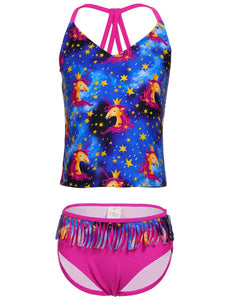 Unicorn Girls Bikini Tankini Set Tassel Swimming Costume Swimsuit UK Age 6-14 Years
