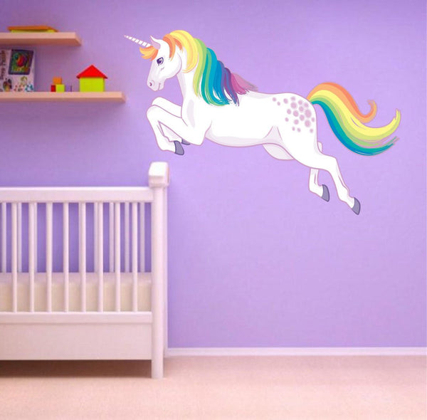 Unicorn Jumping Wall Sticker Rainbow Mane Decal Girls Room Nursery Decor Fantasy