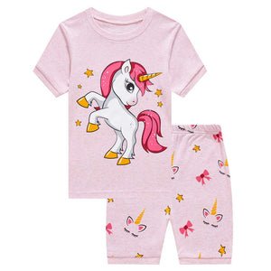 unicorn short sleeve pjyamas set kids