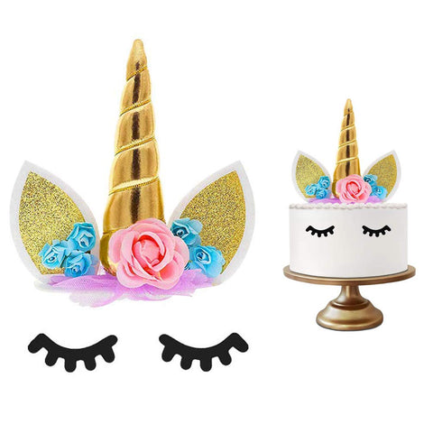 Unicorn Flowers Cake Topper - Pink and Blue Flowers with Gold Horn