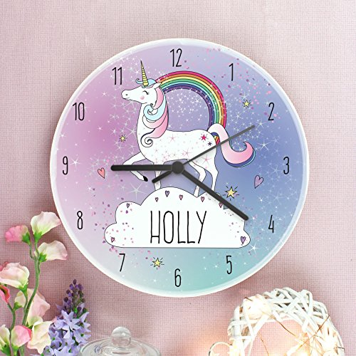 Personalised name unicorn wall clock. Perfect birthday gift, baby shower gift. Unicorn themed bedroom