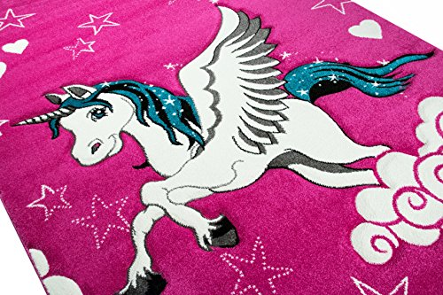 A Beautiful Pink Unicorn Rugs For Girls Playroom, Bedroom or Nursery.
