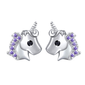 Unicorn earrings silver with purples
