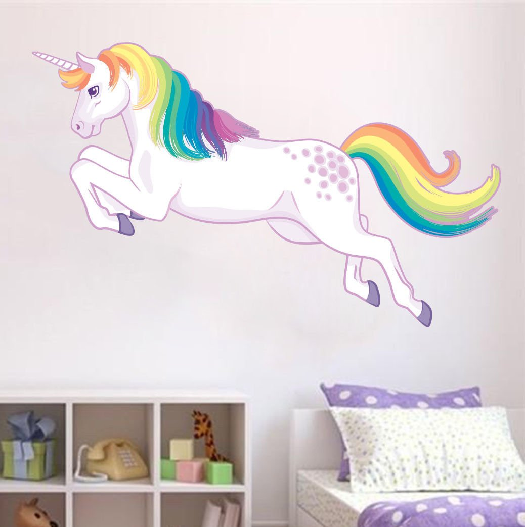unicorn wall sticker white - colourful horn