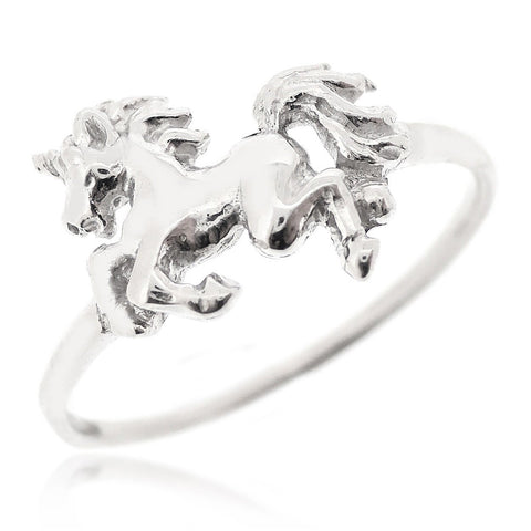 Unicorn Ring For Girls Women 925 Sterling Silver Rhodium Plated