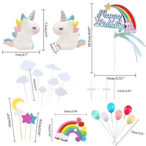 21pcs Unicorn Cake Topper Kit Cloud Rainbow Balloon Happy Birthday Banner Cake Decoration