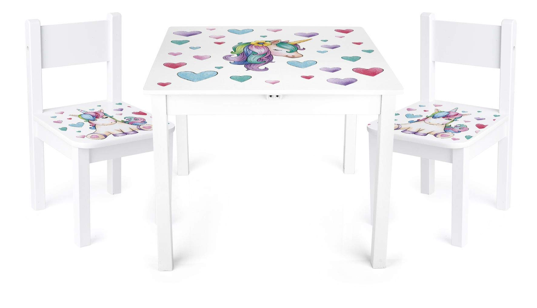 Unicorn table and 2 chair set for kids wooden