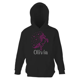 Personalised Unicorn Hoodie For Girls - Black and Pink (ANY NAME)