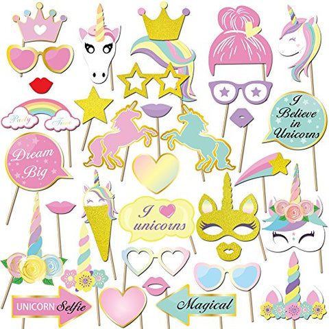 35pcs Glitter Unicorn Photo Booth Props | Unicorn Party Decorations | Baby Showers