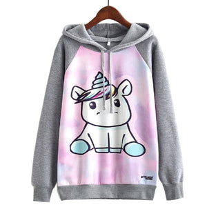 unicorn hoody womens grey pink