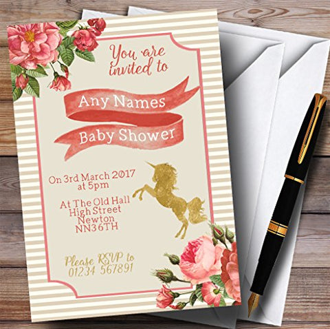 10 x Invitations Stripy Floral Pink Gold Unicorn Invites | Baby Shower