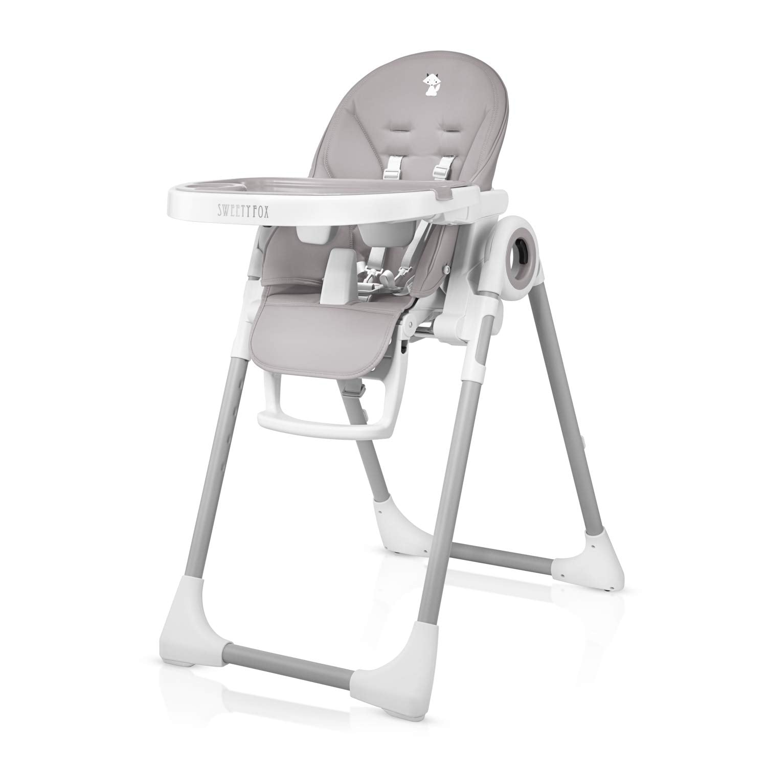 Adjustable, Folding, Unicorn Themed Baby High Chair - Grey