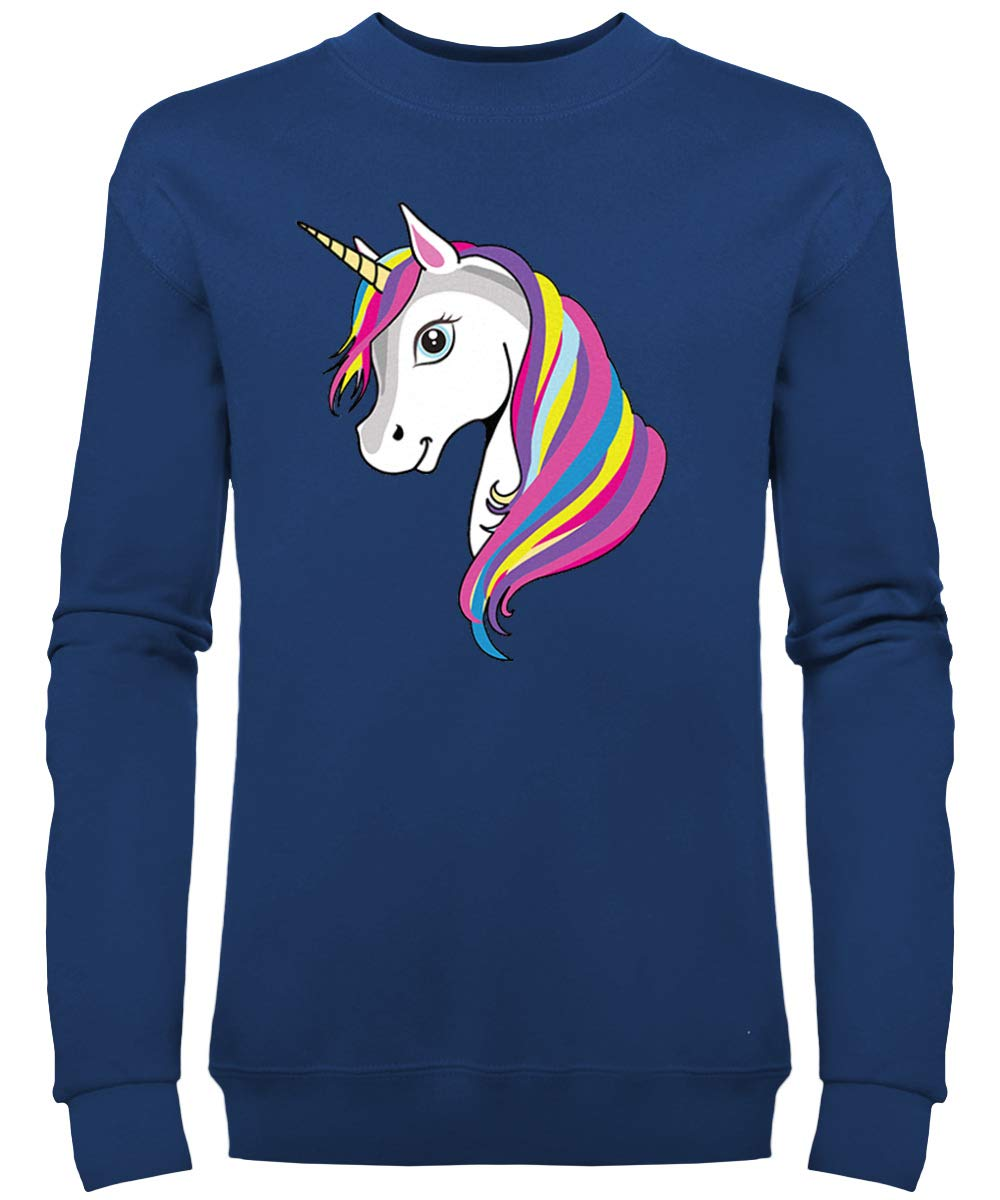 Girls Unicorn Sweatshirt Slim Fit - Navy Blue