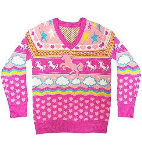 Cheesy Christmas Jumpers Womens Unicorn Knitted V Neck Jumper Pink