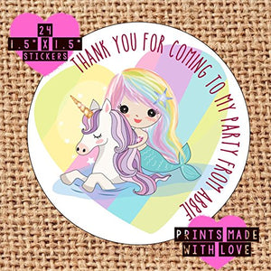 24 x Personalised mermaid Unicorn stickers mup birthday party / baby shower / christening