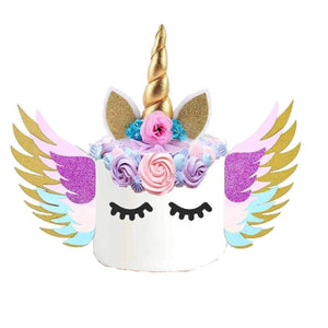 Unicorn cake topper with pink flower, gold horn and glittery wings