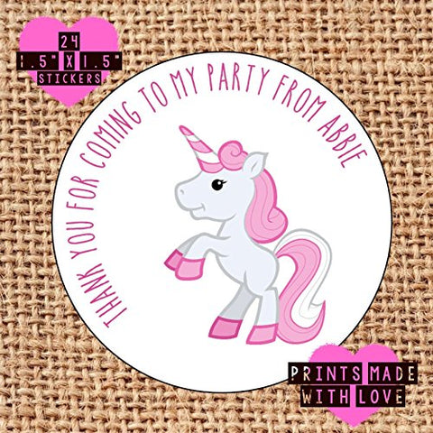 Personalised pink unicorn party bag stickers thank you for coming 24 labels sweet cones labels 1st birthday / christening / baby shower . unicorns
