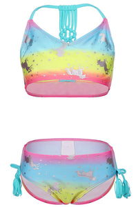 Unicorn Girls Two Piece Swimsuit Fashionable Tankini Sets for Kids