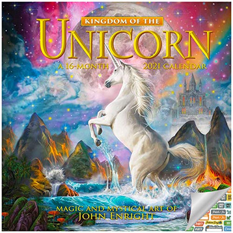 Kingdom Unicorn Calendar 2021 | Wall Calendar | Inc. 100 Calendar Stickers