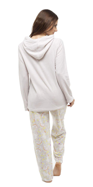 Daisy Dreamer Women's Unicorn Hooded Pyjamas, Fleece Top & Pants PJ Set Nightwear, Size 8-18, Grey, 8/10