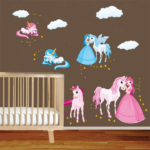 unicorn princess clouds wall sticker