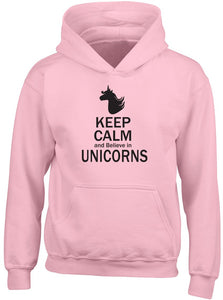 Shopagift Keep Calm and Believe in Unicorns Kids Childrens Hooded Top Hoodie Pink