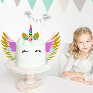 Unicorn Cake Topper With Wings Set - Rainbow Color with Eyelashes