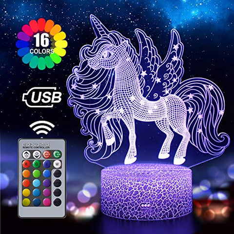 Unicorn Night Light For Kids | 3D Illusion Lamp | 16 Colour Changing