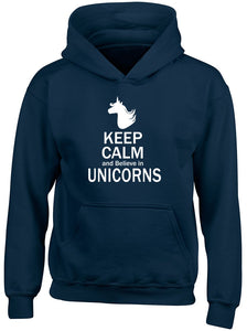 Keep Calm and Believe in Unicorns Girls Kids Childrens Hooded Top Hoodie Navy Blue