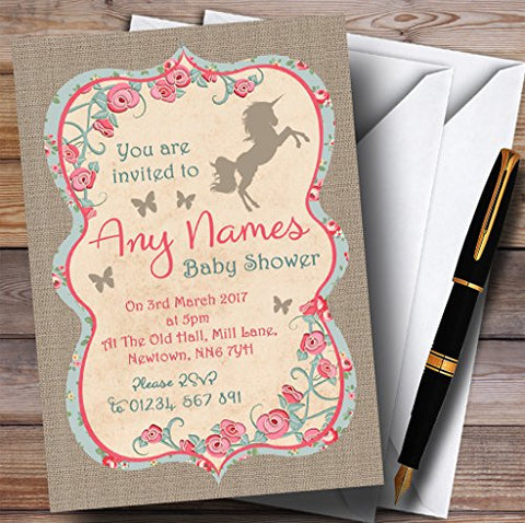 10 x Unicorn Baby Shower Invites | Shabby Chic | Any Wording