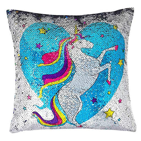 Unicorn Girls Sequinned Cushion for Bedroom