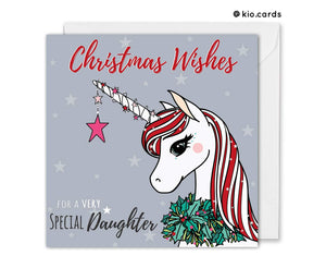 unicorn christmas card for daughter