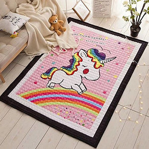 Cute Pink Unicorn Rainbow Themed Rug For Playtime Bedtime Playroom, Bedroom, Nursery
