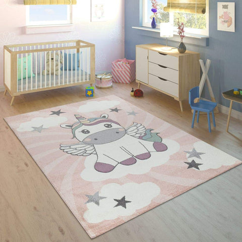 Unicorn Rug for Kids Bedroom on Clouds in Pink Purple, Size: 80x150cm