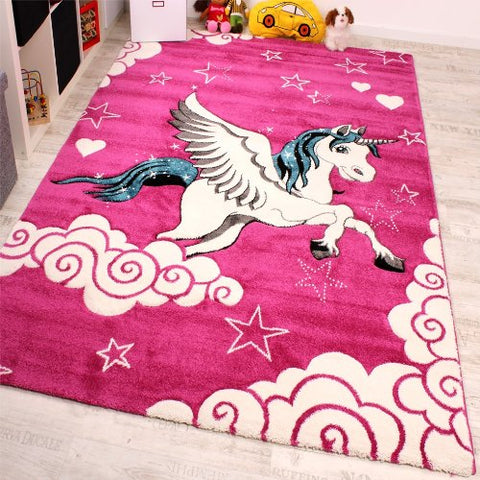Magical Girls Pink Unicorn Rug with Stars, Clouds. Perfect for bedroom, nursery, playroom!