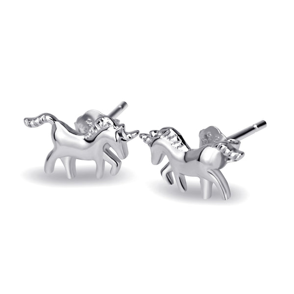 Unicorn-Earrings Ear Studs | 925 Sterling Silver with Rhodium or Rose Gold Finish for Women and Girls