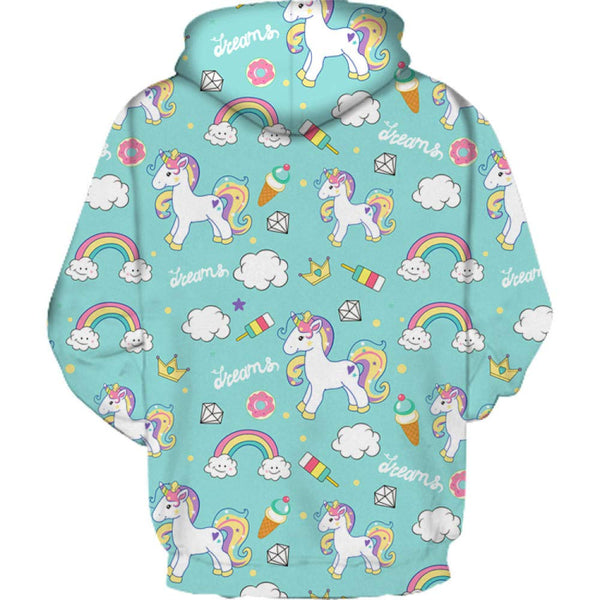Unicorn Hooded Jumper Womens - Green Rainbow Print