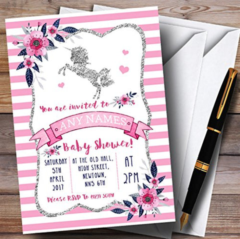 10 x Silver & Pink Unicorn Baby Shower Invites | Any Wording
