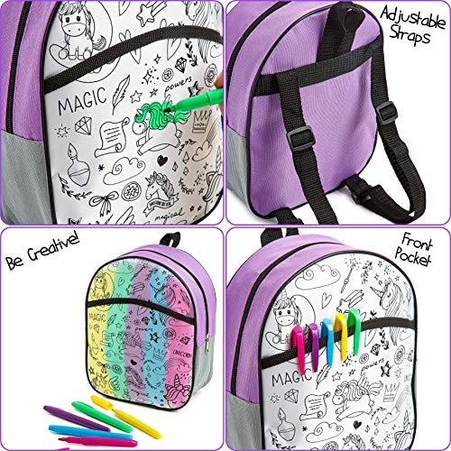Colour Your Own Unicorn Bag Craft Gift With Felt Tip Pens