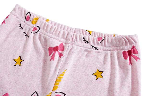 Toddler Girls Pyjamas Set Short Sleeve Cotton Pajamas Pjs Nightwear Cute Horse Print Kids Summer Sleepwear Tops & Pants Children Outfit Age 2-8 Years